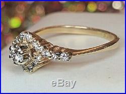 Vintage Estate 14k Gold Diamond Engagement Ring Halo Wedding Appraisal