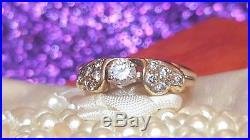 Vintage Estate 14k Gold Diamond Engagement Wedding Ring Heart Band Signed Hhs