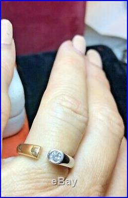 Vintage Estate 14k Gold Diamond Ring Engagement Wedding Bezel Open Signed