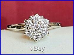 Vintage Estate 14k Gold Diamond Ring Engagement Wedding Flower With Appraisal