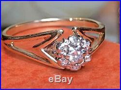 Vintage Estate 14k Gold Diamond Ring Engagement Wedding Signed Flower Cluster