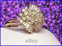Vintage Estate 14k Gold Diamond Ring Flower Ballerina Wedding Designer Signed Sd