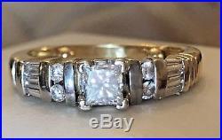 Vintage Estate 14k Gold Diamond Ring Wedding Engagement Signed Cit Princess Cut