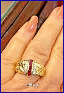 Vintage Estate 14k Gold Diamond & Ruby Band Wedding Anniversary Ring Art Deco