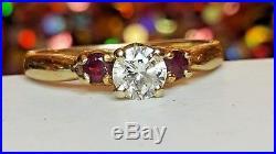 Vintage Estate 14k Gold Diamond & Ruby Wedding Engagement Ring & Band & Gemstone