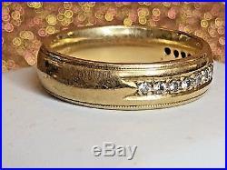 Vintage Estate 14k Gold Diamond Wedding Band Men's Designer Signed Art Carved