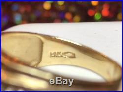Vintage Estate 14k Gold Genuine Diamond Men's Wedding Band Ring Triple Row Bar