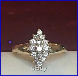 Vintage Estate 14k Gold Genuine Natural Diamond Ring Cluster Navette Wedding