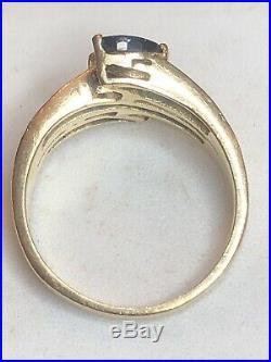 Vintage Estate 14k Gold Natural Diamond & Blue Sapphire Ring Engagement Wedding