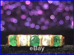 Vintage Estate 14k Gold Natural Diamond & Emerald Band Ring Wedding Anniversary