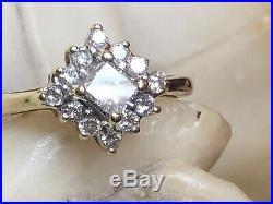 Vintage Estate 14k Gold Natural Diamond Engagement Ring Halo Wedding Halo