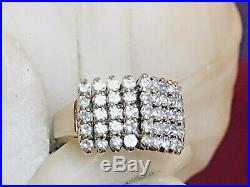 Vintage Estate 14k Gold Natural Diamond Ring Band Wedding Cluster Signed Ror