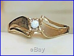 Vintage Estate 14k Gold Natural Diamond Ring Champagne Wedding Engagement Signe