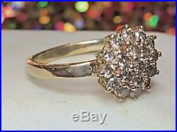 Vintage Estate 14k Gold Natural Diamond Ring Cluster Flower Engagement Wedding