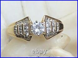 Vintage Estate 14k Gold Natural Diamond Ring Solitaire Wedding Engagement