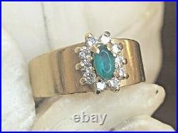 Vintage Estate 14k Gold Natural Emerald Diamond Ring Band Designer Signed Aj