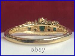 Vintage Estate 14k Gold Natural Green Emerald & Diamond Ring Engagement Wedding
