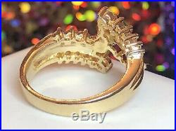 Vintage Estate 14k Gold Natural Green Emerald Diamond Ring Engagement Wedding