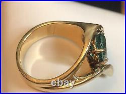 Vintage Estate 14k Gold Natural Green Garnet Ring Gemstone Wedding Engagement