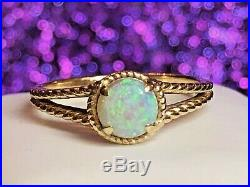 Vintage Estate 14k Gold Opal Natural Ring Gemstone Cabochon Engagement Wedding