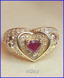 Vintage Estate 14k Gold Ruby Diamond Ring Heart Shaped Encrusted With Diamonds