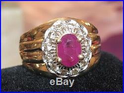 Vintage Estate 14k Gold Ruby & Diamond Ring Signed Fbg Wedding Engagement Halo