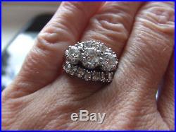 Vintage Estate 14k Mid Century Large Diamond Wedding Engagement Ring 1.65 CTW