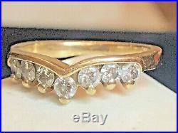 Vintage Estate 14k Natural Gold Diamond Band Ring Wedding Anniversary Contour