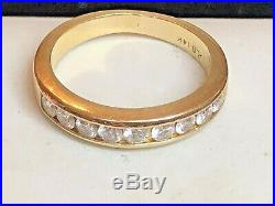 Vintage Estate 14k Natural Gold Diamond Band Ring Wedding Anniversary Signed Alb