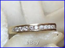 Vintage Estate 14k Natural Gold Natural Diamond Band Ring Wedding Anniversary