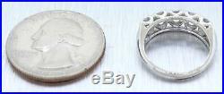 Vintage Estate 14k Solid White Gold 1.00ctw Diamond Wedding Band Ring