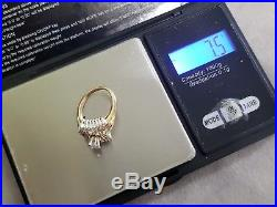Vintage Estate 14k Solid Yellow Gold 2.00ct + Diamond Wedding Band Ring SZ. 7