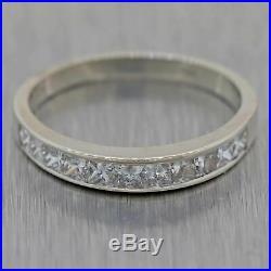 Vintage Estate 14k White Gold 1.00ctw Princess Diamond 3mm Wedding Band Ring