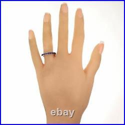 Vintage Estate 14k White Gold 1.50ctw Sapphire Wedding Band Ring