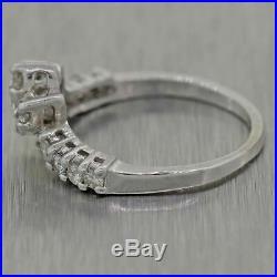 Vintage Estate 14k White Gold. 50ctw Diamond Wedding Band Ring
