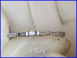 Vintage Estate 14k White Gold Diamond Band Ring Wedding Anniversary Baguette
