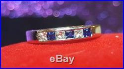 Vintage Estate 14k White Gold Diamond Blue Sapphire Wedding Band Ring Signed Hb