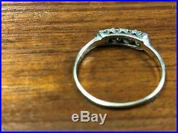 Vintage Estate 14k White Gold Diamond Wedding Band Ring size 8.25, 1.6 Grams
