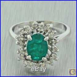 Vintage Estate 14k White Gold Emerald Halo Diamond Cocktail Ring