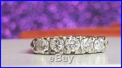Vintage Estate 14k White Gold Eternal 5 Round Diamonds Wedding Band Ring