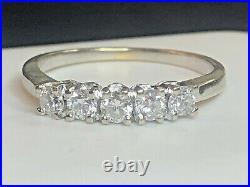 Vintage Estate 14k White Gold Five Diamond Band Wedding Anniversary Ring