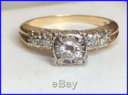 Vintage Estate 14k White Gold Genuine Natural Diamond Ring Engagement Wedding