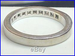Vintage Estate 14k White Gold Natural Diamond Band Ring Wedding Anniversary
