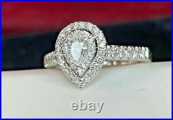Vintage Estate 14k White Gold Natural Diamond Ring Pear Halo Engagement Wedding