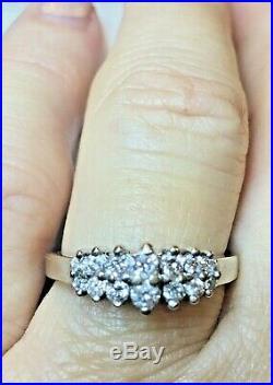 Vintage Estate 14k White Gold Natural Diamond Ring Wedding Anniversary