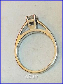 Vintage Estate 14k White Gold Natural Genuine Diamond Ring Engagement Wedding