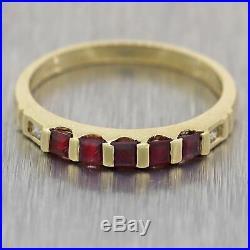 Vintage Estate 14k Yellow Gold 0.30ctw Ruby & Diamond Wedding Band Ring