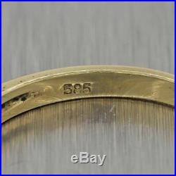 Vintage Estate 14k Yellow Gold 0.30ctw Sapphire & Diamond Wedding Band Ring