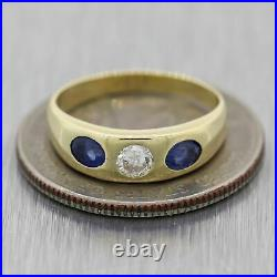 Vintage Estate 14k Yellow Gold 0.45ctw Diamond & Sapphire Wedding Band Ring
