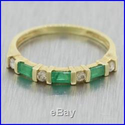 Vintage Estate 14k Yellow Gold 0.50ctw Emerald & Diamond Wedding Band Ring